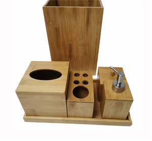 Hotel Balfour Bamboo Bathroom Accessories Set With Soap Dispenser Tooth Brush