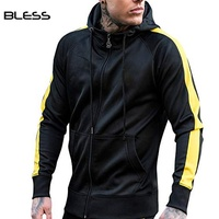 Custom Men Fitness Jogging Side Stripe Gym Sports Track Sweat Suit With Zipper