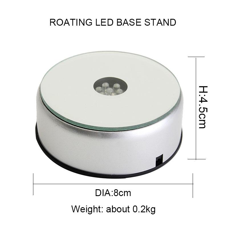Wholesale Silver Plastic Round USB Battery Powered Rotating Led Light Base ABS Led Acrylic Holder Base for display Gift