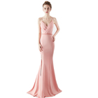 Wedding Bridesmaid Dress Pink Beaded Waist 7 Colors Women Mermaid Evening Prom Long Dresses