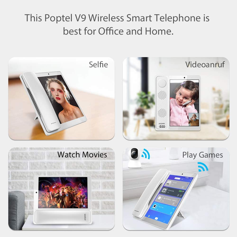 8 inch cordless smart phone 4G VOLTE LTE SIM card fixed wireless desktop phone WiFi hotspot 2g/16g android 8.1 video telephone