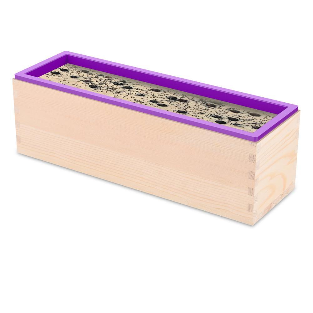 अनुकूलित बड़े आयत 900g / 1200g सिलिकॉन बार साबुन ढालना के साथ लकड़ी के बॉक्स