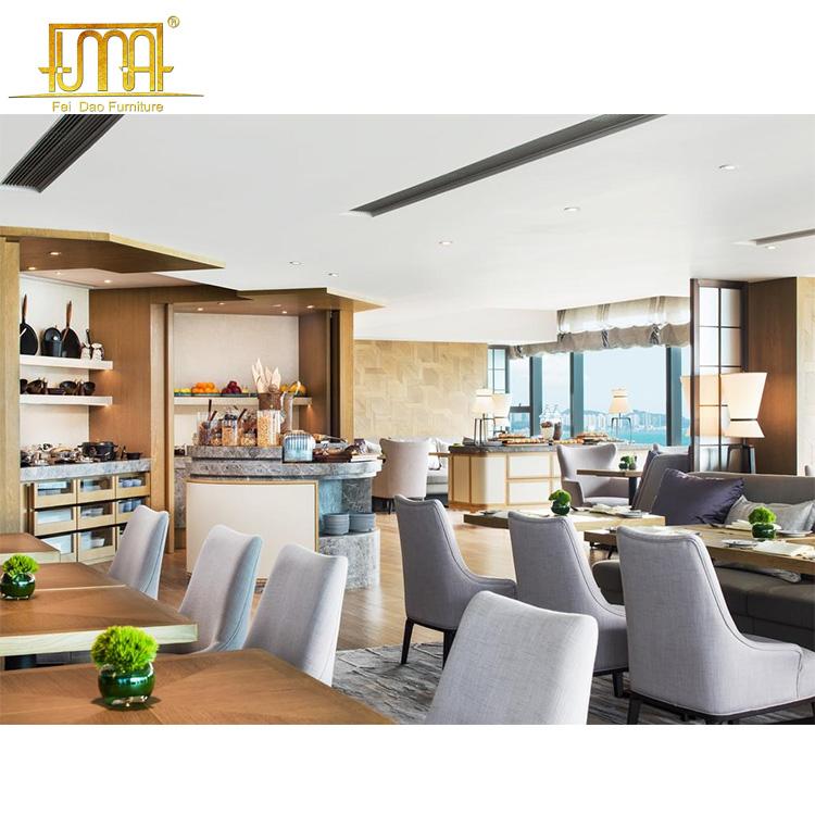 Aangepast Ontwerp Houten Materiaal 5 Star Hotel Restaurant Meubels Eettafel Set