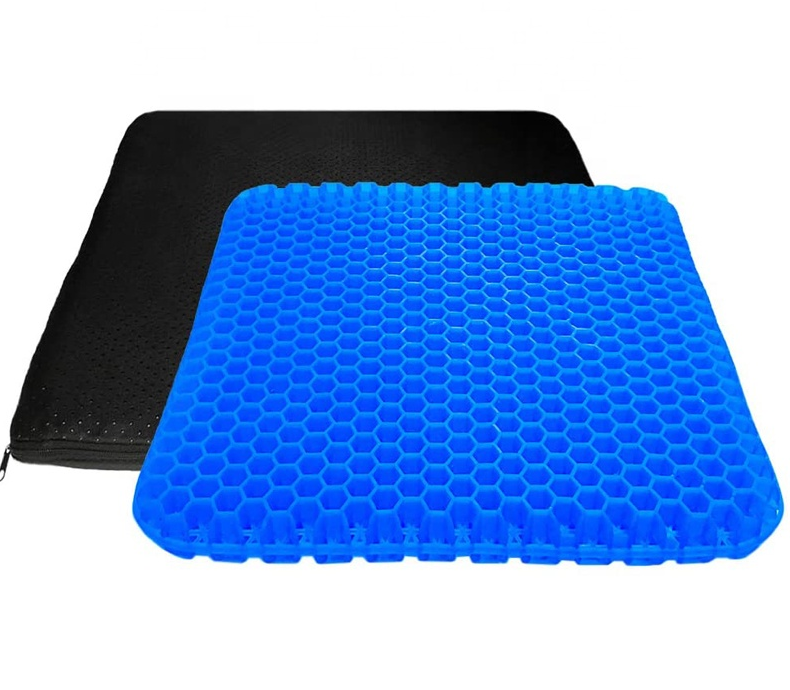 Breathable Honeycomb Gel Seat Cushion with Anti-Slip Cover for Pressure Relief