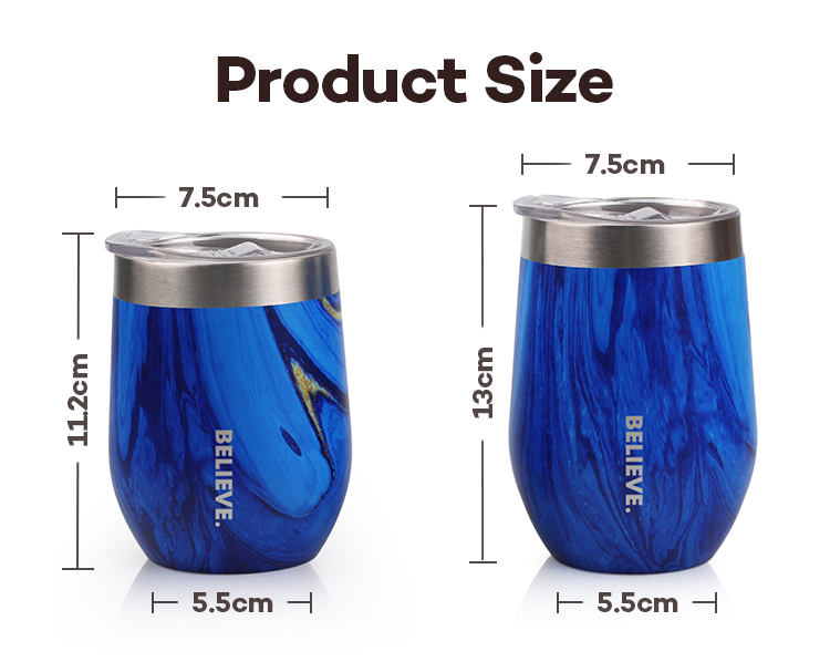 High Quality Food Grade Stainless Steel Double Wall Vacuum Insulated Stemless Wine Cup