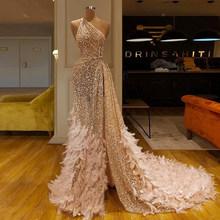 Африканские платья для выпускного вечера, вечерние платья, Длинные Русалка, 2020, с блестками, на одно плечо, с перьями, элегантные вечерние пл...(China)