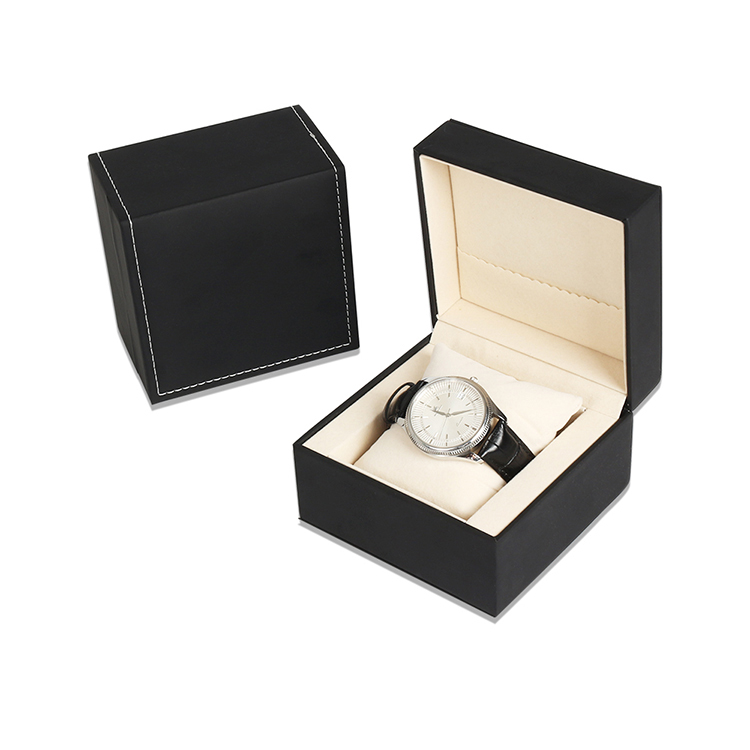 China Manufacturers Oem PU Leather Watch Box Custom Logo Elegant Black Jewelry Box