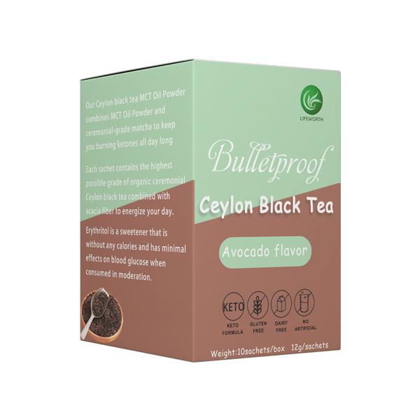Lifeworth organic avocado flavor mct oil black tea powder - 4uTea   4uTea.com