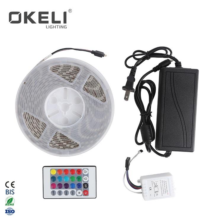 OKELI High Lumens 5050-60LED IP44 SMD remote control RGB led strip light