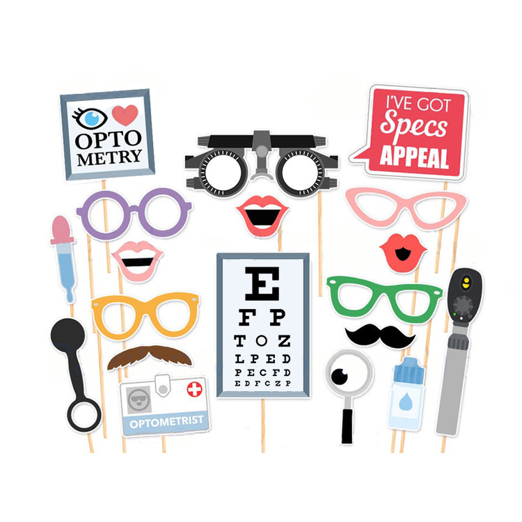 Nuovo Design Personalizzato Optometrista Photo Booth Puntelli Occhio Medico PhotoBooth Props