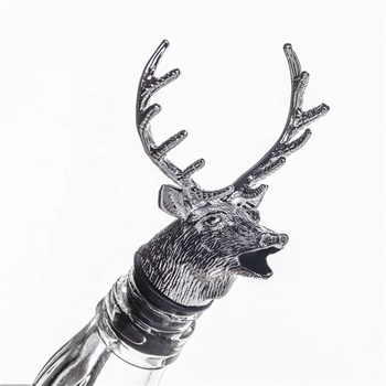 Hot Wine Aerator Decanter Stag Deer Head Wine Stopper with Silicone Rubber Fitting Deer Wine Pourer