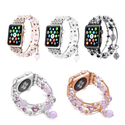 Bracelet for Apple Watch Band 38-40mm 42-44mm Girls Pearl Elastic Stretch strap Jewelry Wristband Iwatch Series 5/4/3/2/1