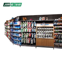 Morden Steel and Wood Shelf Rack and Wall Mounted Corner Shelf Shop Fitting with Wooden Cabinets