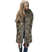 2017 Winter Dames Kimono Bomberjack Windjack Lange Oversized <span class=keywords><strong>Leger</strong></span> Camouflage Vrouwen Jassen Hooded Sweat Shirts