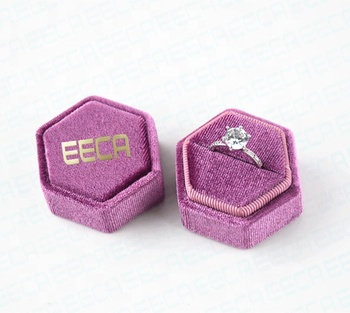 Custom radiant orchid hexagonal velvet engagement ring box,earring velvet ring box with logo and outer boxes