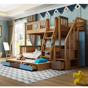 Bedroom furniture solid wood children loft bunk double bed with wardrobe for kids