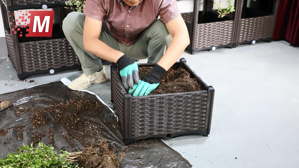 ขาตั้งเครื่องหว่านเมล็ดผักสมุนไพรในบ้าน,กล่องปลูกต้นไม้พลาสติกแบบเคลื่อนย้ายได้สำหรับกลางแจ้งและในร่ม