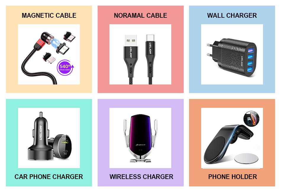 USLION สินค้าใหม่1เมตร540องศามีความยืดหยุ่นโค้งตรง3ใน1สำหรับ Micro USB C ไนลอน Led สานแม่เหล็กชาร์จสาย USB