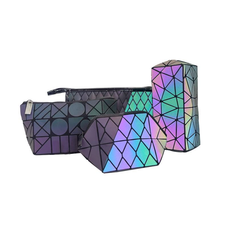 Popular  pu diamond geometric make up bag travel custom logo cosmetic bags