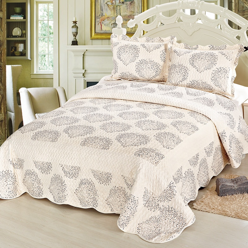 European Short Plush Microfiber Printed Quilted Patchwork Bedspread
