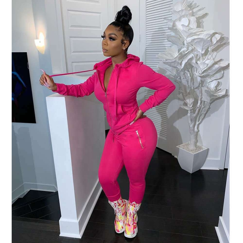 KG3703 2020 Casual Solid Thick Hooded Hoodie Sport Suit Fashion Outfits Woman Two Piece Pants Suit Set