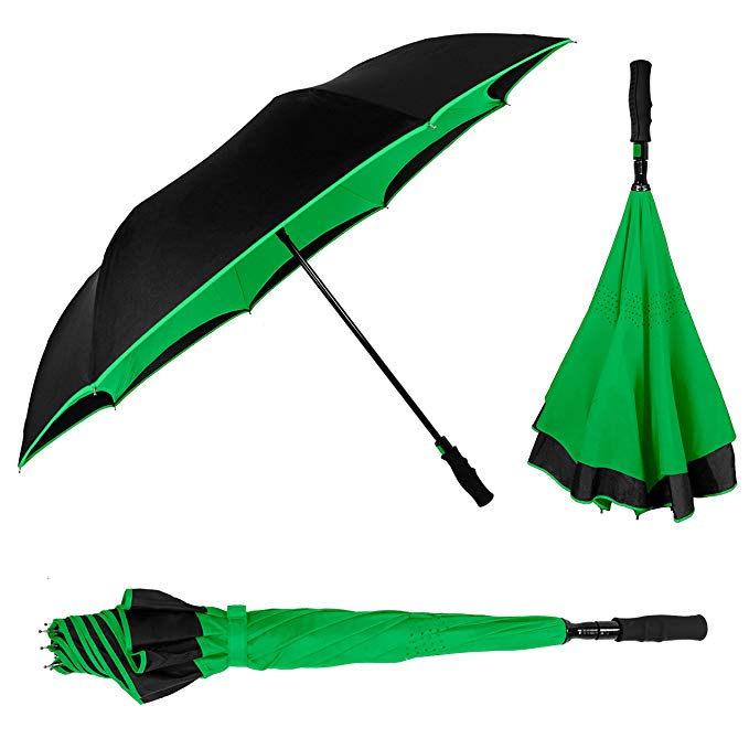 Customized color double canopy inverted umbrella reverse car umbrella with long easy gripped handle