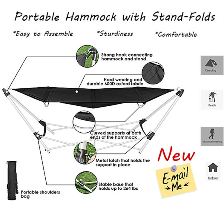 Outdoor & Indoor Folding Metal Hammock Stand Portable