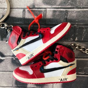 Dropping AJ1 OFF-WHITE 3D sneaker keychain silicone shoe for promotion mini nike shoes Garage Kits in pairs