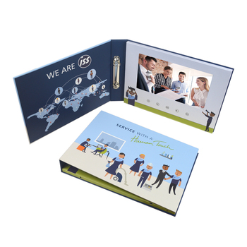 Facevideo screen video folder binder printed brochure lcd 10.1inch