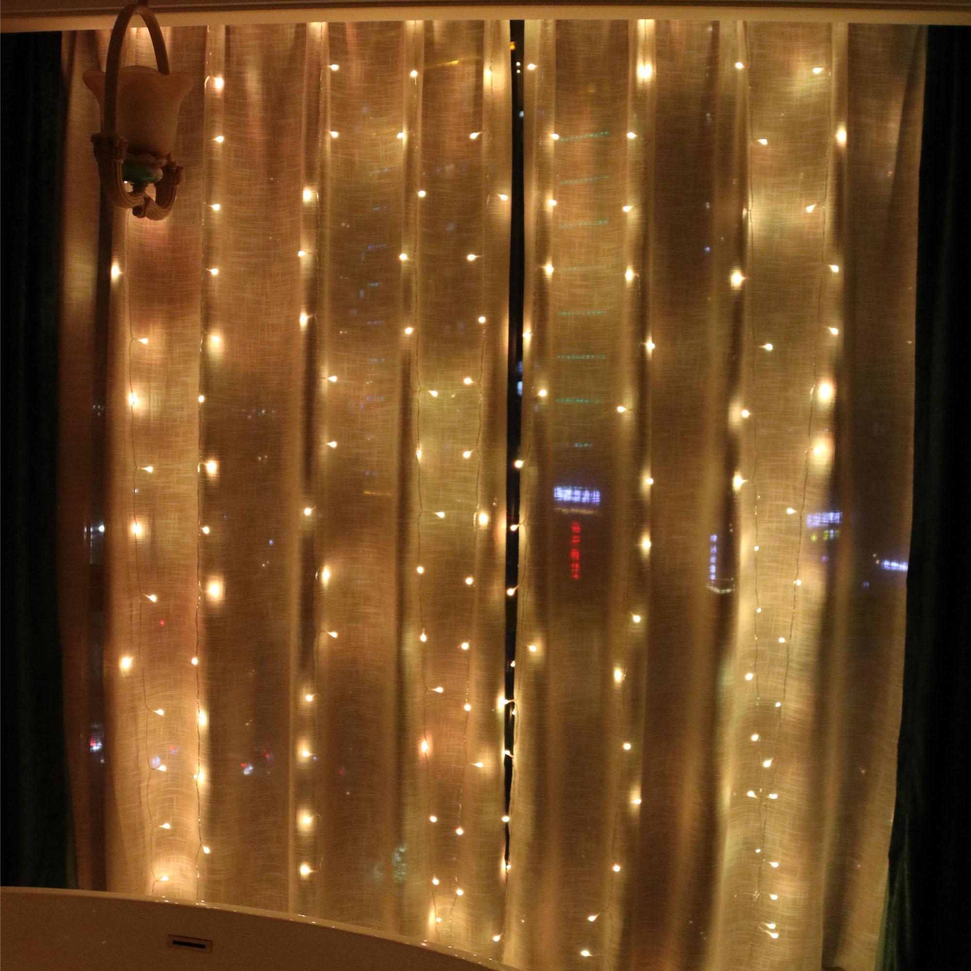 Amazon 300 LEDウォームホワイト8モードChristmas Icicle Fairy Twinkle窓カーテンストリングライト