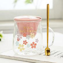 Японская Милая кружка Сакура, стеклянные прозрачные женские офисные стаканы для воды, фильтр для чая, разделяющая чашка, розовые кубеки, сам...(Китай)