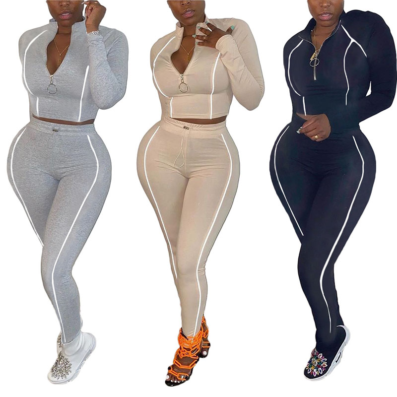 2 pieces Set Women Matching Sets Sexy Winter Two Piece Set Top Pants Outfits