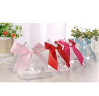 Baby Shower Birthday Party Transparent Bow Candy Box Wedding Decoration Favor Box Diamond Shape Plastic Candy Boxes