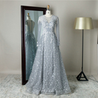 Elegant design embroidered sexy perspective party women organza evening dress with long sleeve