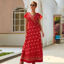Летнее винтажное Макси-Платье с принтом, повседневные длинные платья Vestidos De Verano для женщин, высокая талия, глубокий v-образный вырез, коротки...(Китай)