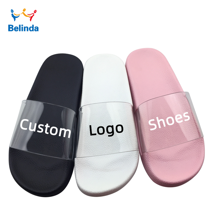 Oem Slippers Printed Logo Sandals Latest Ladies Transparent Custom Shoes