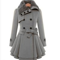 Wholesale New Fashion Women Girls Fur Collar design warm long plus size double breast button belt sur collar winter coat women