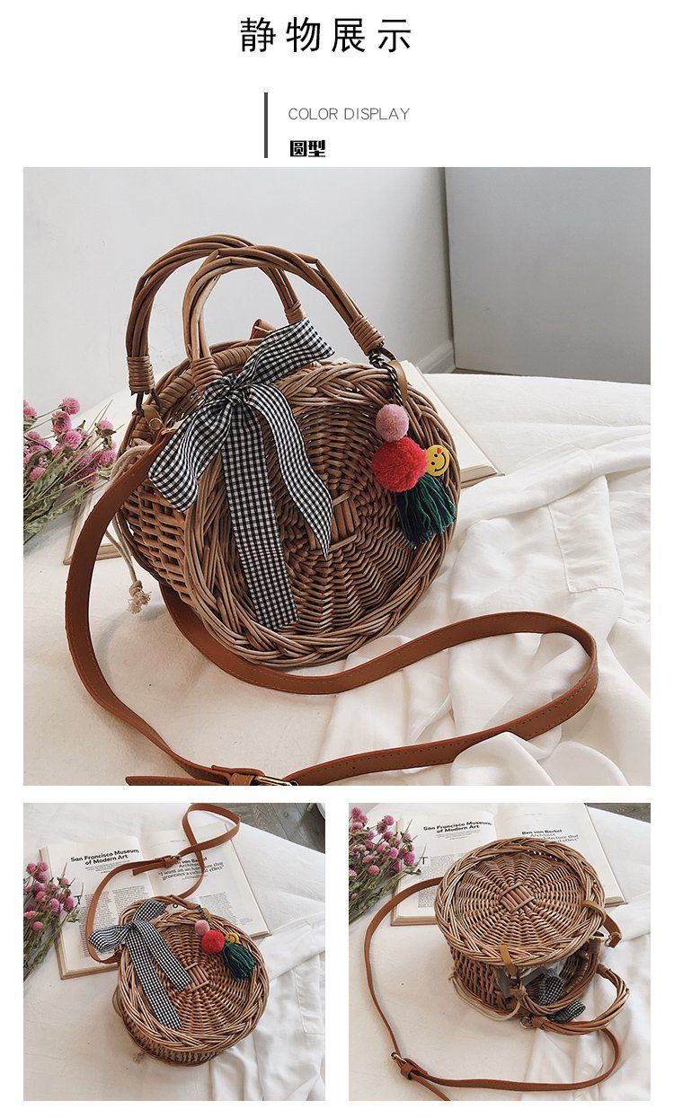 New fashion holiday beach woven pompoms hanging ladies shoulder bag