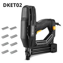 DEKO Новый DKET02 Электрический скобозабивательный степлер электроинструменты мебель штапельного пистолета для рамы с скобами и деревообработ...(Китай)
