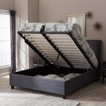 Luxury Bedroom Fabric King Size Storage Platform Designer Bed
