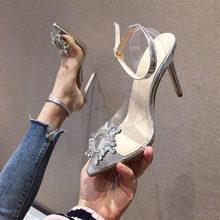 MCCKLE/женские босоножки; прозрачная обувь с острым носком на высоком каблуке; женская модная повседневная обувь без шнуровки; женские босонож...(Китай)