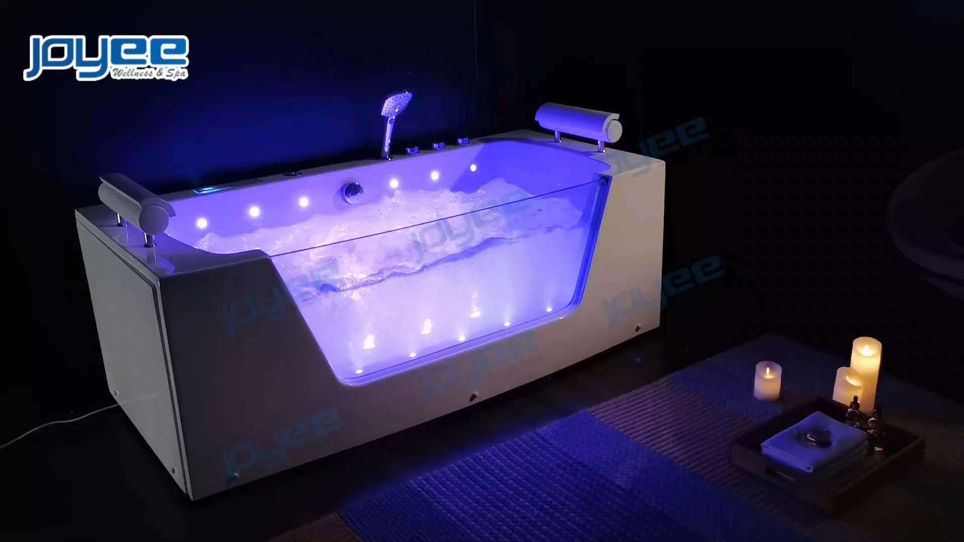 JOYEE 2020 tempered glass side whirlpools massage acrylic hotel bathroom massage whirlpool bathtub  with LED massage jets