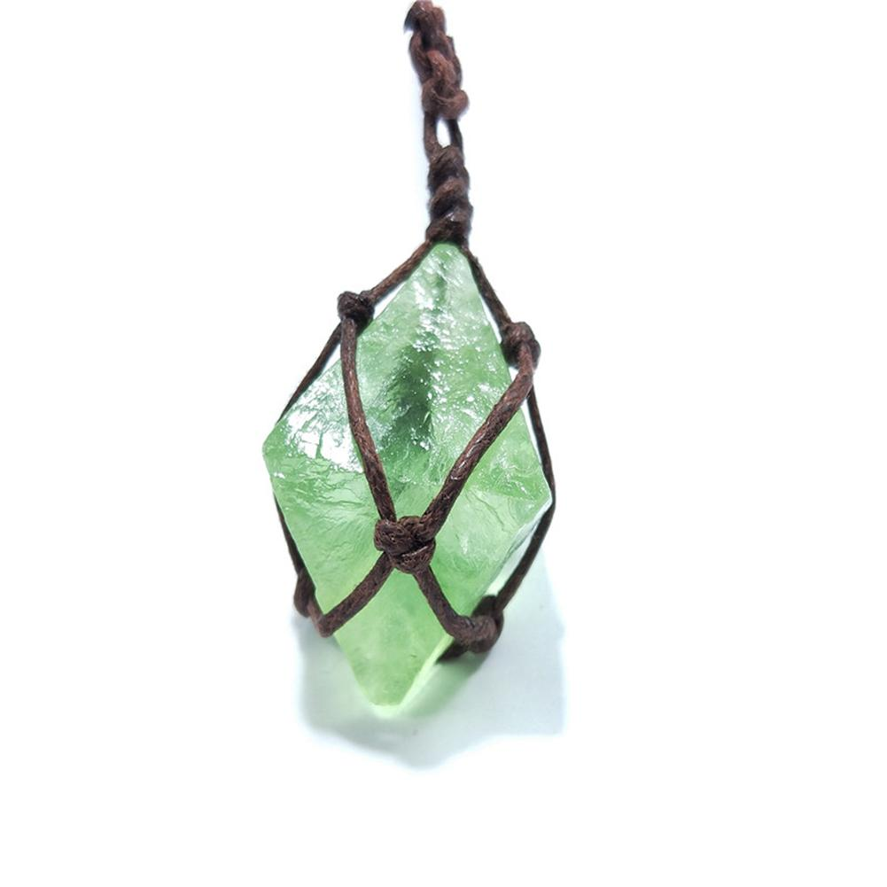 <strong>Natural</strong> <strong>Emerald</strong> Crystal <strong>Pendant</strong> Healing DT Gemstone Wand Reiki Green Fluorite Wrap Braid Necklace Yoga Macrame for Men Women