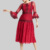 red sheer bell sleeve O neckline one cut back lace a line for women teen summer carnival evening party knee length dress