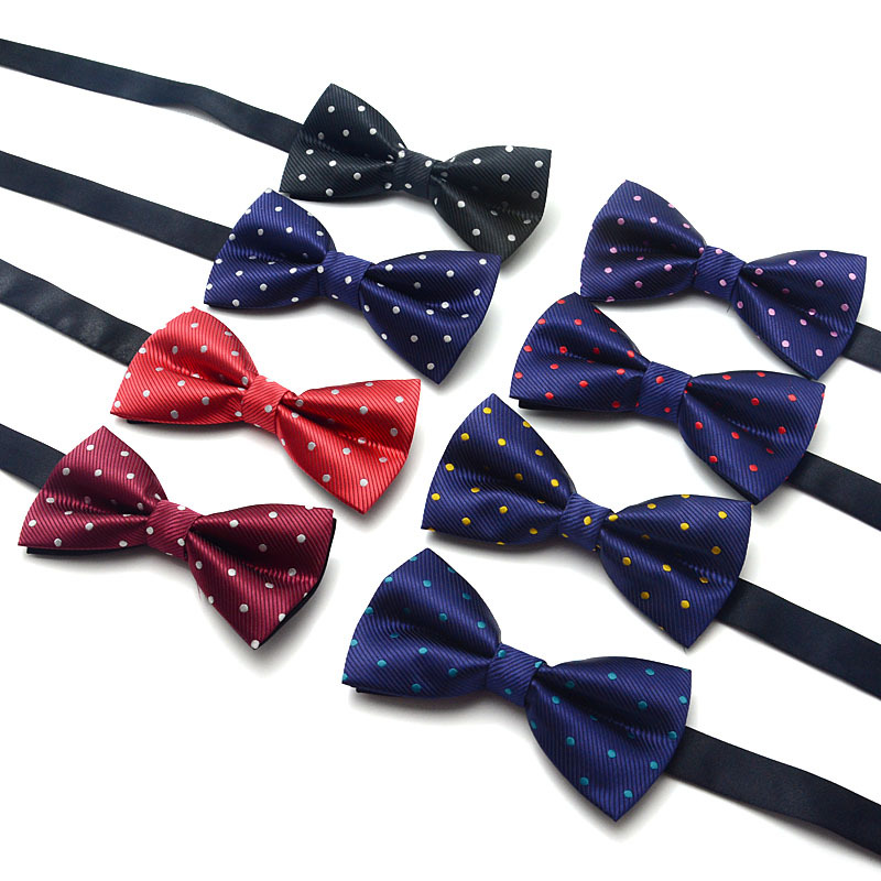 Polyester Woven Dots Pattern Bowtie Adult Pre-tied Bow Tie For Men