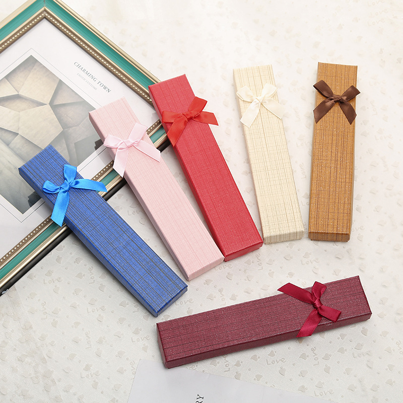 XXB002 Trade Assurance New Design Fashion Bowknot Multicolour Paper Jewelry Box Wood Grain Necklace Box Jewelry Gift Box