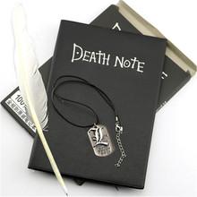 A5, аниме, записная книжка, набор, кожаный журнал и ожерелье, перо, перо, дневник, блокнот для смерти, блокнот для подарка D40(Китай)