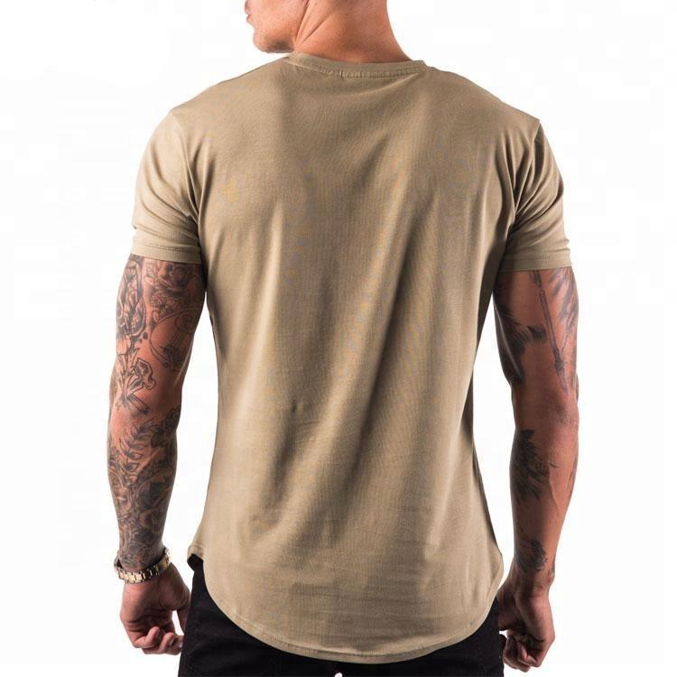 95% Cotton 5% Elastane Scalloped Hem Slim Fit Custom Gym Fitness Men T Shirt