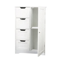 White 4 Drawers 1 Door Cheap MDF storage drawer cabinet modern living room cabinet design