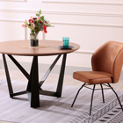 Design Table Dining Dining Table Dining High Quality Modern Design 4 Seat Round Table Dining Room Set MDF Veneer Dining Table Black Powder Coat Dining Table Set